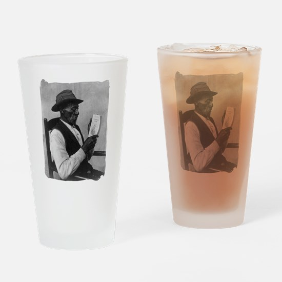 Old Man Reading Drinking Glass