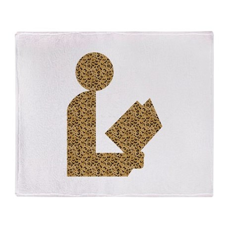 Library Leopard Print Logo Throw Blanket
