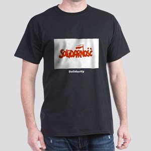Solidarity Solidarnosc Flag (Front) Black T-Shirt