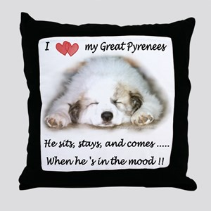 Great Pyrenees Mood Throw Pillow