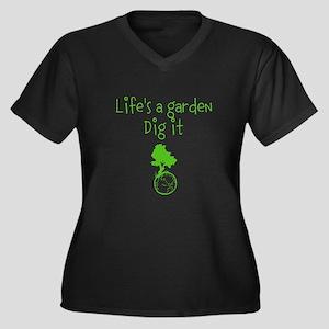 Lifes a garden Women's Plus Size V-Neck Dark T-Shi