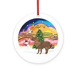 XmasMusic2-Shetland Pony Ornament (Round)