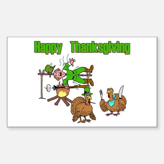 Funny Thanksgiving Sticker (Rectangle)