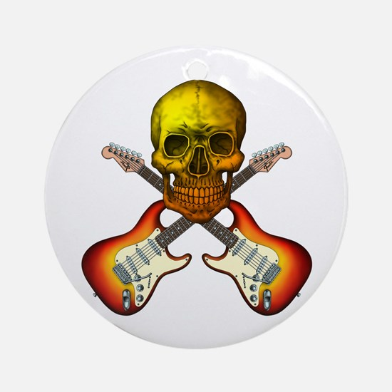 Skull & Guitar Ornament (Round)