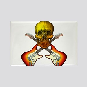 Skull & Guitar Rectangle Magnet