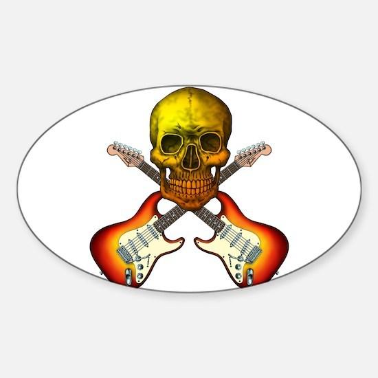 Skull & Guitar Sticker (Oval)