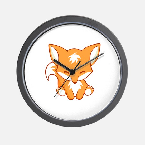 Cute Little foxes Wall Clock
