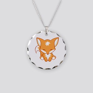 Happy Fox Necklace Circle Charm