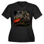 Mountain Sunset Women's Plus Size V-Neck Dark T-Sh