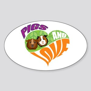 Pigs and Love Sticker (Oval)