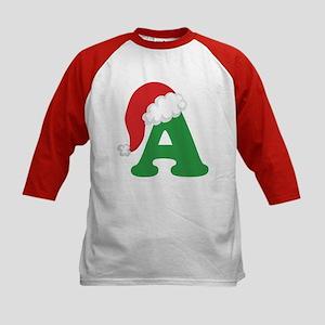 Christmas Letter A Alphabet Kids Baseball Jersey