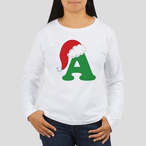 Christmas Letter A Alphabet Women's Long Sleeve T-