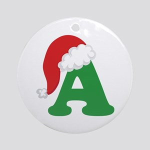 christmas letter a alphabet ornament round
