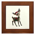 vintage toy reindeer with festive Christmas santa