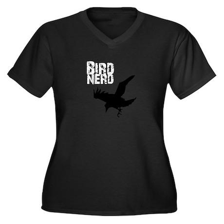 Bird Nerd (Raven) Women's Plus Size V-Neck Dark T-