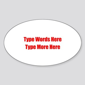 Write Your Own Red Text Sticker (Oval)