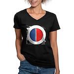 Cars Round Logo Blank Women's V-Neck Dark T-Shirt