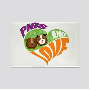Pigs and Love Rectangle Magnet