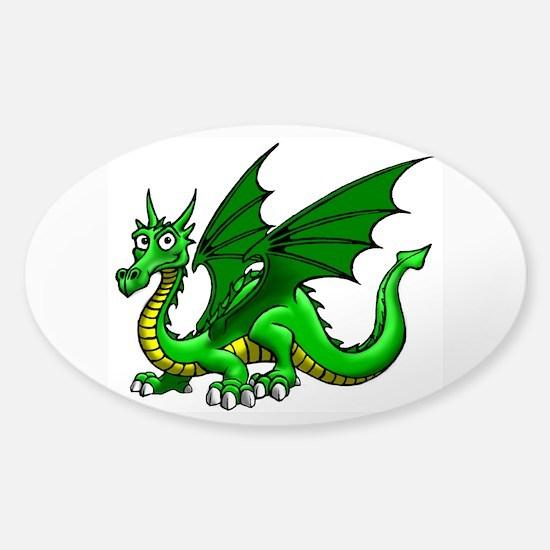 Green Dragon Sticker (Oval)