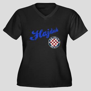 Hajduk Women's Plus Size V-Neck Dark T-Shirt