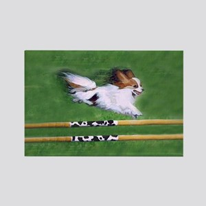 Red Sable Papillon in Agility Rectangle Magnet