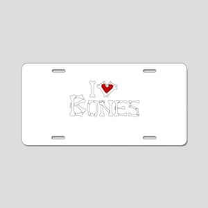 I Love Bones Aluminum License Plate