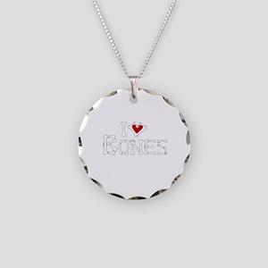I Love Bones Necklace Circle Charm