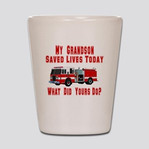Grandson-What Did Yours Do? Shot Glass