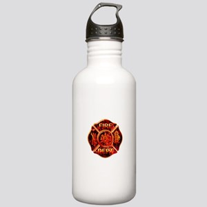 Maltese Cross Red Flame Stainless Water Bottle 1.0