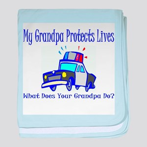 Police Protects Lives-Grandpa baby blanket