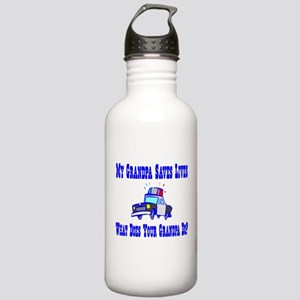 Police Saves Lives-Grandpa Stainless Water Bottle