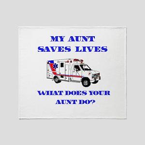 Ambulance Saves Lives-Aunt Throw Blanket