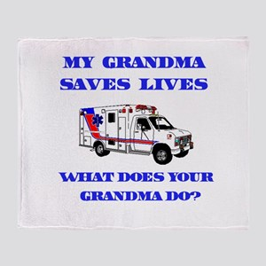 Ambulance Saves Lives-Grandma Throw Blanket