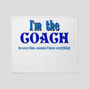 I'm the Coach -Blue Throw Blanket