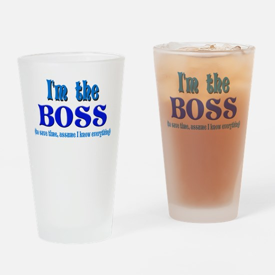 I'm the Boss- Blue Drinking Glass