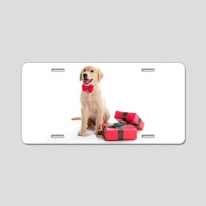 Christmas Golden Retriever Aluminum License Plate