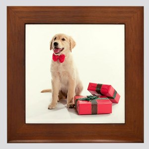 Christmas Golden Retriever Framed Tile
