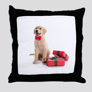 Christmas Golden Retriever Throw Pillow
