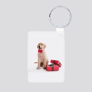Christmas Golden Retriever Aluminum Photo Keychain