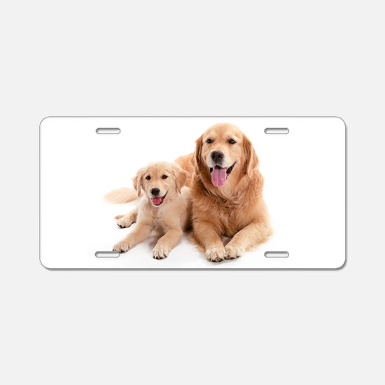 Golden retriever buddies Aluminum License Plate