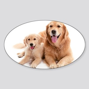 Golden retriever buddies Sticker (Oval)