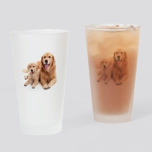Golden retriever buddies Drinking Glass