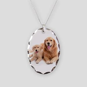 Golden retriever buddies Necklace Oval Charm