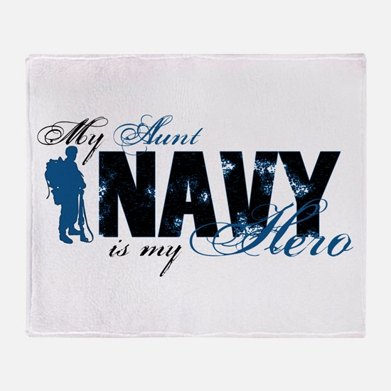 Aunt Hero3 - Navy Throw Blanket