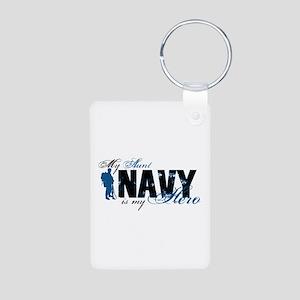 Aunt Hero3 - Navy Aluminum Photo Keychain