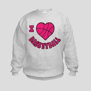 I Love Basketball Kids Sweatshirt