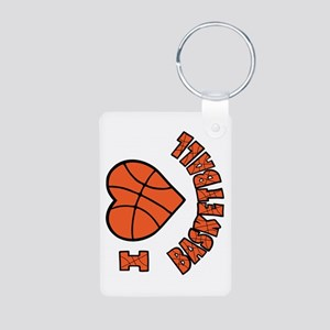 I Love Basketball Aluminum Keychain (2-sided)