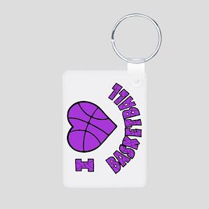 I Love Basketball Aluminum Photo Keychain