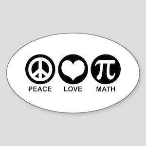 Peace Love Math Sticker (Oval)