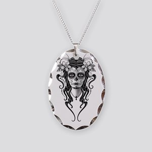 Day of the Dead Skull Woman Oval Charm Necklace